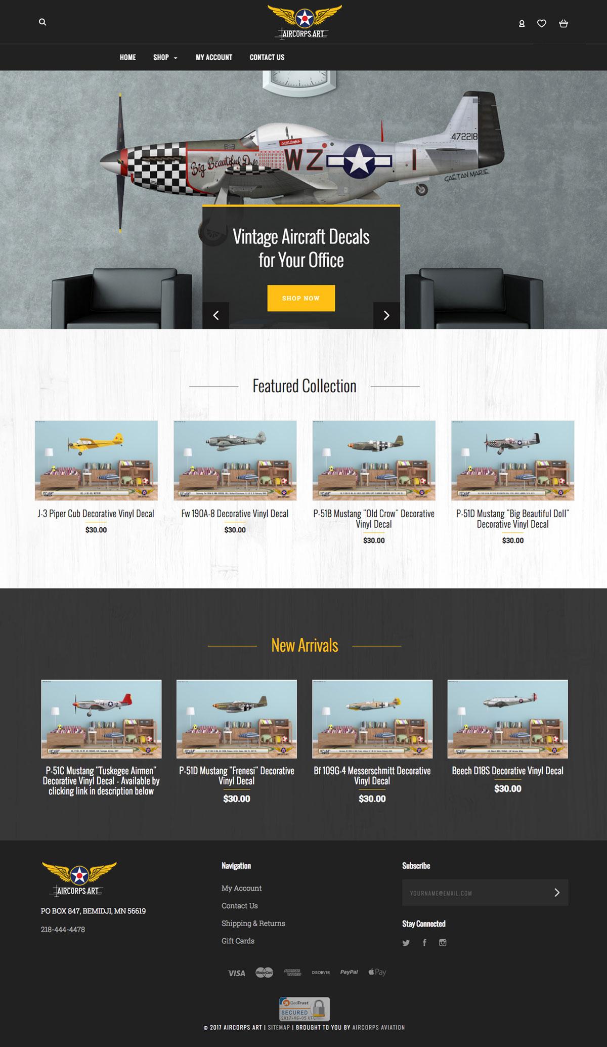 AirCorps Art website bigcommerce