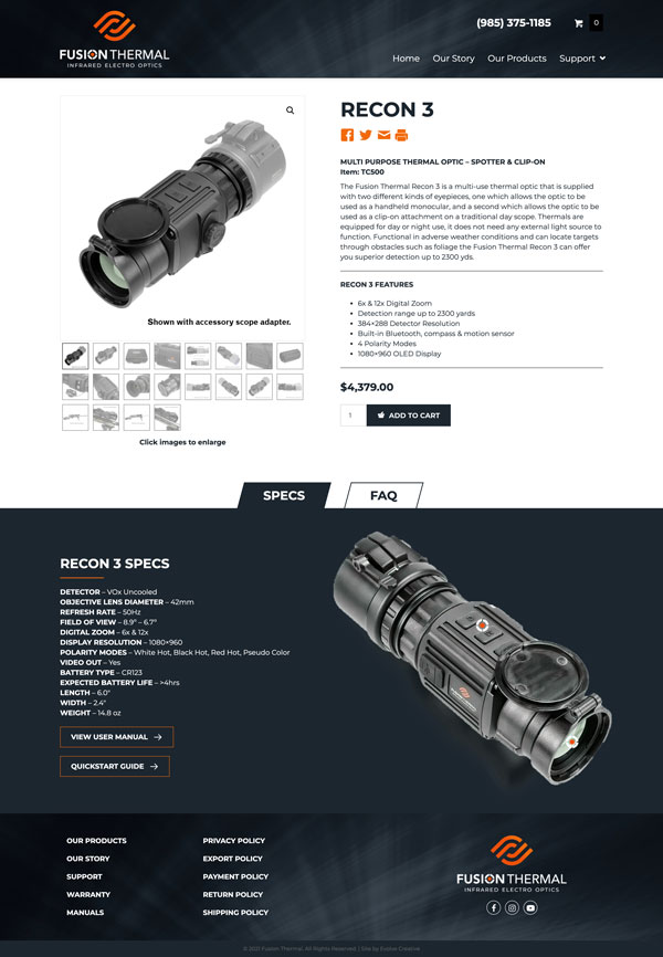 Fusion Thermal Gun Scope website design