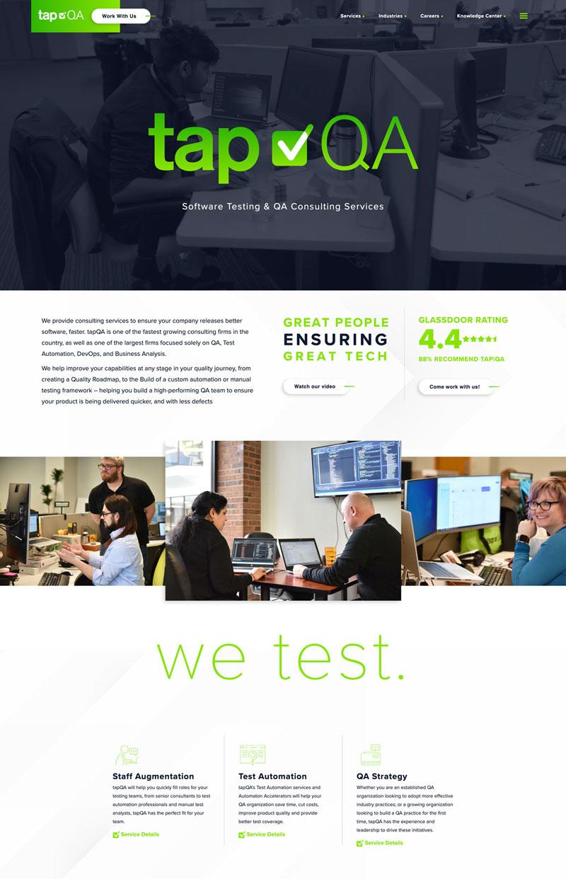 Tap QA Website design